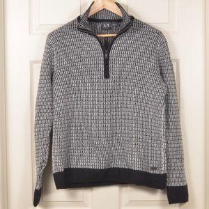 ArmaniEx M Zip-neck Cotton Wool Sweater
